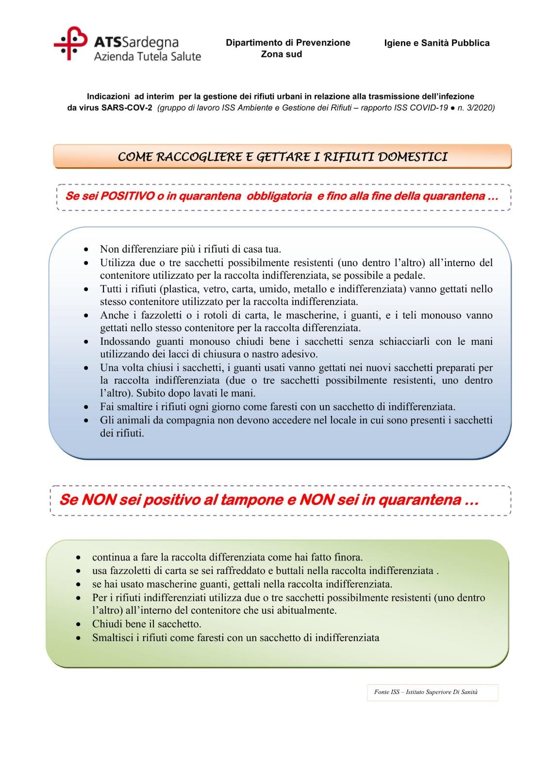 Conferimento rifiuti Gonnosfanadiga Coronavirus